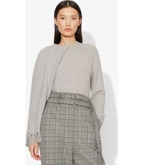 proenza schouler draped scarf cashmere long sleeve knit sweater light grey melange s