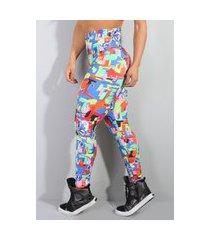 calça legging com cós alto em poliéster estampada diário íntimo