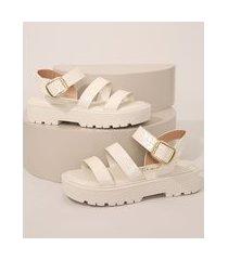 sandália flatform feminina beira rio texturizada croco off white