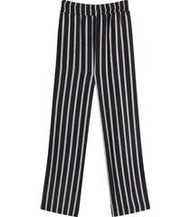 pantalón para mujer fluido a rayas color negro, talla 10