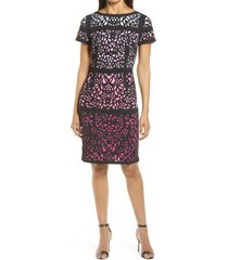 women's shani lace colorblock sheath dress, size 2 - black