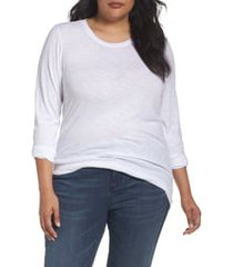 plus size women's caslon long sleeve crewneck tee, size 1x - white