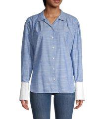 frame women's cotton button-down shirt - oxford blue - size s
