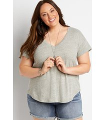 maurices plus size womens 24/7 gray drop shoulder classic tee blue