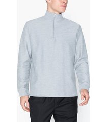 topman grey twill 1/4 zip sweatshirt tröjor grey