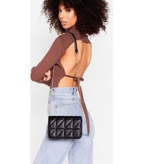 womens pu quilted crossbody bag - black