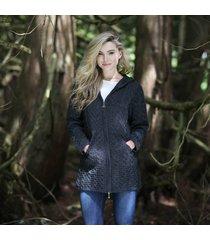 hooded irish aran zipper coat charcoal medium