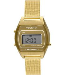 relógio touch vintage mesh dourado