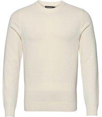 andy structure c-neck sweater stickad tröja m. rund krage vit j. lindeberg