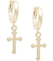 14k gold dangle-hoop cross earrings