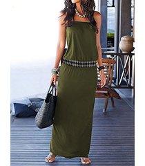 yoins army green elastic strap tube sin mangas maxi vestido