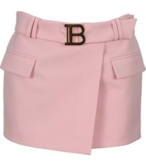 balmain wool low-rise skirt