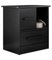 mesa de cabeceira stilo 1 gaveta e 1 porta preto fosco liso albatroz