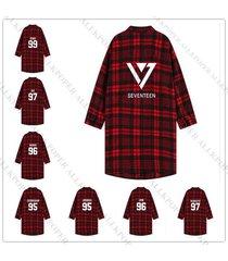 kpop seventeen red plaid  shirt women three-quarter sleeve overshirt blouse coat