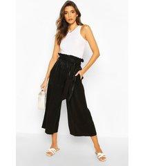 paperbag waist wide leg culottes, black