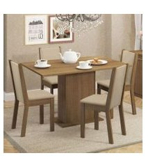 conjunto sala de jantar madesa talita mesa tampo de madeira com 4 cadeiras rustic/crema/pérola