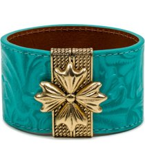 patricia nash gold-tone floret magnetic leather cuff bracelet