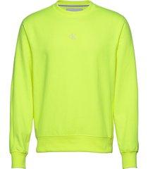 back logo neon crewneck sweat-shirt tröja gul calvin klein jeans