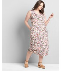 lane bryant women's ruched side midi dress 38/40 evelyn floral