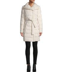 tahari women's belted puffer coat - black - size xxs