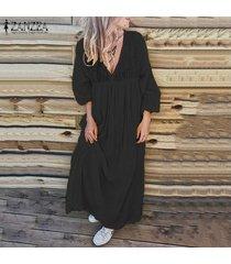 zanzea vestido largo largo bohemio de corte bajo para mujer vestido de camisa de vacaciones de verano tallas grandes -negro
