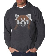 la pop art men's red panda word art hooded sweatshirt