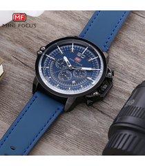 reloj para hombre/correa de piel/ mini focus / 0095g /-azul