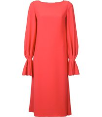 carolina herrera long-sleeved loose dress - red
