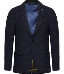 classic single-breasted neps wool-blend blazer blazer kavaj blå scotch & soda