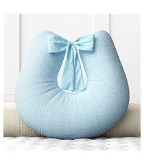 almofada amamentação mini poá azul c/ zíper grão de gente azul