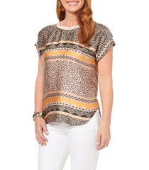 women's wit & wisdom mixed print woven top, size - (nordstrom exclusive)