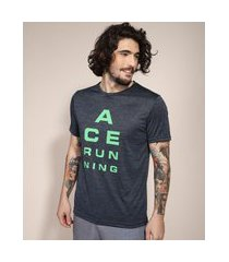 "camiseta esportiva ace ace running"" manga curta gola careca azul marinho"""