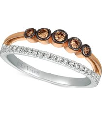 le vian chocolatier diamond two-tone statement ring (1/4 ct. t.w.) in 14k rose gold & white gold