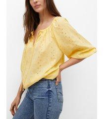 mango swiss embroidery cotton blouse