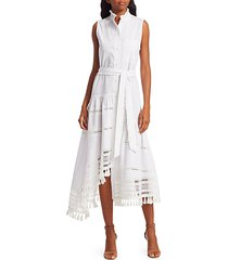 nerioa tie-belt sleeveless shirtdress