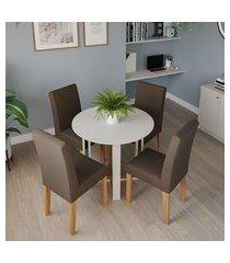conjunto de mesa de jantar redonda com tampo de vidro flora i off white e 4 cadeiras maia linho mascavo