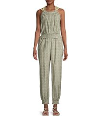 rebecca taylor women's pascale floral smocked jumpsuit - grey multi - size xs