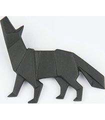 broszka porcelanowa origami wilk czarna