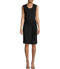pleated cotton-blend sheath dress