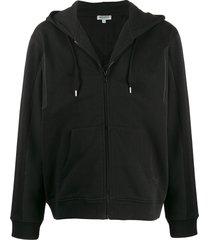 kenzo mesh-panel hooded sweatshirt - black