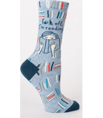 blue q women's crew funny novelty socks, f*** off, i'm reading. - blue multi