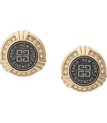givenchy pre-owned 1980's art-deco style earrings - gold