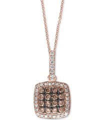 """effy espresso & white diamond 18"""" pendant necklace (1/2 ct. t.w.) in 14k rose gold"""