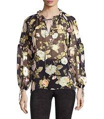 julius balloon sleeve floral silk blouse