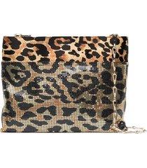 paco rabanne leopard pixel shoulder bag - gold