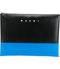 marni two-tone embossed logo clutch - black