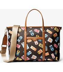 mk borsa tote beck media con stampa logo - brown multi - michael kors