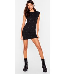 womens bling the tequila diamante shoulder padded dress - black