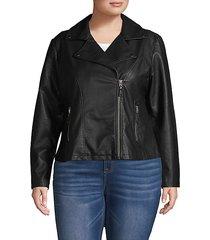 plus faux leather moto jacket