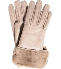 buffered leather shearling gloves